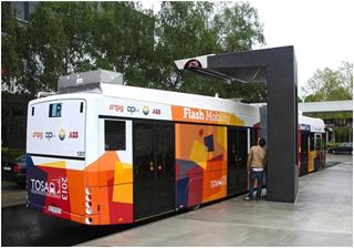 Первая в мире флэш-зарядка большой емкости для зарядки автобусов на линии
