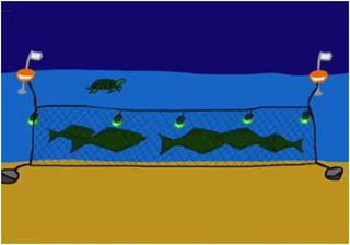 Рыболовная сеть со светодиодами