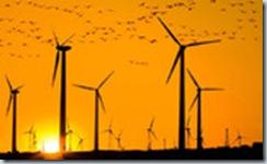 ветрогенераторы на восходе солнца