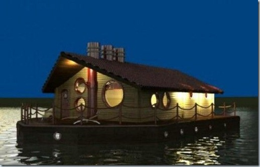 дом на воде ночью